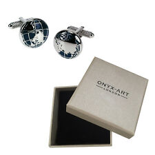 Mens Pair Of Silver Globe Cufflinks & Gift Box - Teacher Pupil Gift By Onyx Art