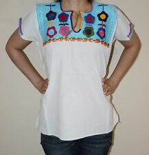 SMALL MANTA PEASANT HAND EMBROIDERED CHIAPAS MEXICAN BLOUSE TOP 100% COTTON