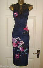 FAB LACE DESIGN MIDI PENCIL WIGGLE EVENING PARTY DRESS SIZE 12 14 NEW
