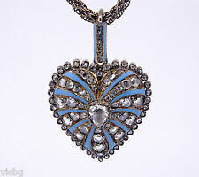 Magnificent c.1860 Victorian Gold Diamond & Enamel Necklace Pendant Heart Locket