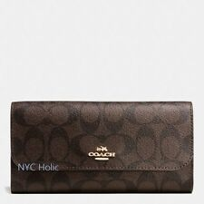 New Coach F52681 Coach Outline Signature Checkbook Wallet Brown True Red NWT