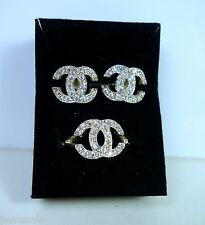 jem: Designer-Inspired CC DIAMOND EARRINGS & RING JEWELRY SET in Fine Silver