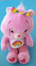 "13"" SINGING CHEER RAINBOW CARE BEAR PLUSH PINK TALKS & SINGS TCFC 2007"