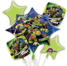 Teenage Mutant Ninja Turtles Birthday Party Favor 5CT Foil Balloon Bouquet