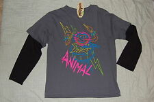 Boys Long Sleeve T Shirt Disney MUPPITS Animal Drums NEON PRINT Gray MEDIUM 8
