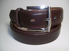 "Men New Dark Brown Leather Belt with Silver Buckle 50"" #1015"