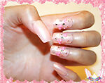 Starsire Baby Pink Hearts & Diamonds Japan Acrylic Fake 24 3D Shiny Full Nails
