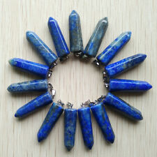Wholesale 12pcs/lot natural lapis Lazuli stone Pendulum pillar Pendants 32x10mm