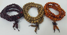Set of 3 Sandalwood/Wengue 108 Prayer Bead Mala Bracelets Necklaces 6mm 8mm