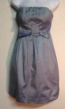 Wayne Cooper Silver Blue SILK strapless MINI dress with bow SIZE 1/ 8-10
