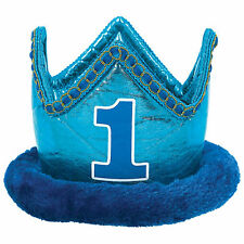 Deluxe Blue 1st First Birthday Boy Party Royal Prince Fabric Crown