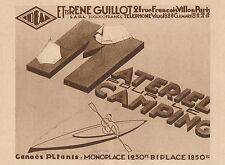 Y8780 Materiel pour le Camping R. GUILLOT - Pubblicità d'epoca - 1931 Old advert
