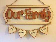 Personalised Family Wooden Plaque Shabby Chic Gift Our Family