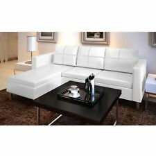 White Faux Leather Corner Sofa 3 Seater Couch Chaise Lounge Modern Furniture New