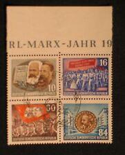 DDR ,  Zusammendruck aus Block Nr. 9 A Karl Marx gestempelt