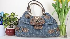 GUESS ORIGINAL DENIM BLUE BROWN CROCK TOTE HANDBAG GRAB BAG