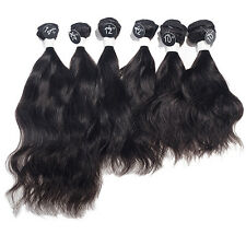 "6pcs Full Head 1B Indian Virgin Hair Extensions Indian Wave Weaves  10"" 12"" 14"""