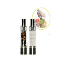 PepperMate One Handed Salt and Pepper Mill Set of 2 One Push Coarse Grind Table