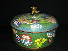 ANTIQUE CLOISONNE LIDDED FOO DOG ROUND BOX MARKED CHINA GREEN BLUE CHINESE