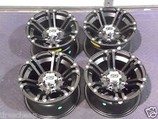 "12"" YAMAHA RHINO 700 ALUMINUM ATV WHEELS NEW SET 4 LIFETIME WARRANTY SS212 BLK"