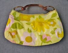 VINTAGE 70'S NICE DESIGN PLASTIC HANDLES FLOWERS & LEAVES VINYL PURSE BAG