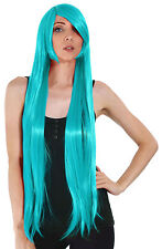 """100cm/39"""" Stylish Long Straight Anime Cosplay Party Hair Wigs Full Wig Teal"""