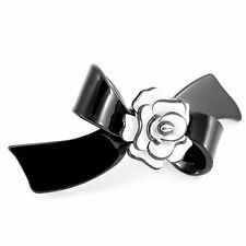 Moliabal Womens Barrette Hair Accessory Black Ribbon with White Flower NWT