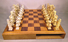 Wood Chess Case with Drawers Molded Plastic Chess Pieces Roman or Greek Motiff