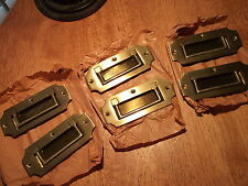 Brass Flush Recessed Pull Handle Set of 6 New Antique Vintage Drawer Hardware
