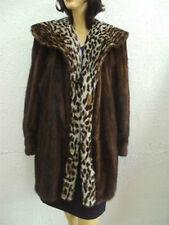 EXCELLENT CANADIAN MAHOGANY MINK FUR COAT JACKET W SPOTTED FAUX FUR DESIGN SZ 10