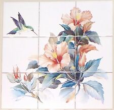 Hummingbird Bird Orange Hibiscus Flower Ceramic Tile Mural Kiln Fired 9pc 4.25""