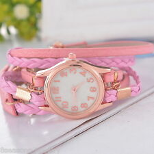 Pink Hot Women Stainless Steel Leather Strap Braided Bracelet Quartz Wrist Watch