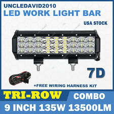 "Tri-Row 9"" 135W CREE LED Work Light Bar Spot Flood Combo Off Road UTE SUV Truck"