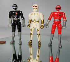 '94 Vtg Set (3) Power Rangers 2 Diecast Metal Legs 1 White Ranger ACTION FIGURES