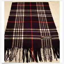 100% Cashmere Scarf Soft 72X12 Black Red Check Plaid Scotland Wool Z6 Men Wrap