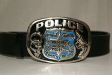Police Badge Handcuffs We Serve and Protect Belt Buckle