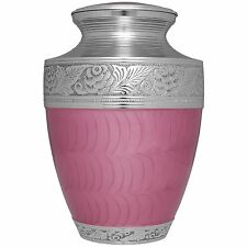 Pink, Silver, Flowers and Leaves - Brass Funeral Cremation Urn,  Adult