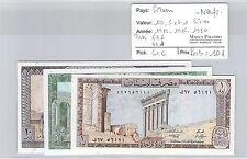 3 BILLETS LIBAN - 10, 5 et 1 LIVRES - 1986 / 1986 / 1980 - NEUFS !!!