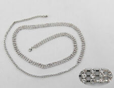 4 Row Diamante/Diamond Ladies Waist Chain/Charm Belt in Silver