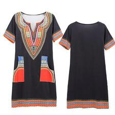 Women's Traditional African Print Dashiki Gypsy Short Sleeve Party Dress S-3XL