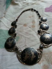 VINTAGE RARE NIELLO SIAM STERLING HINGED NECKLACE 45grm  HEAVY