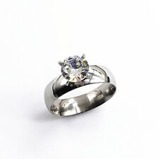 316L Stainless Steel Wedding 6mm Band Round CZ Cut Engagement Ring Size 11.5