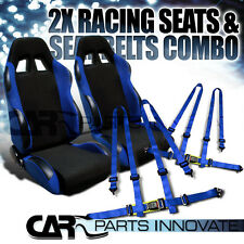 2X BLACK BLUE CLOTH RECLINABLE RACING BUCKET SEATS+SEAT BELT HARNESS