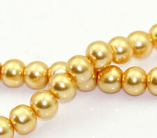 CHAMPAGNE GOLD PEARL ROUND GLASS BEADS (One Strand 8mm)~Bracelets~Necklace(21E)