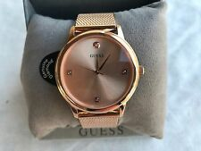 New GUESS U0280G2 Unisex Rose Gold-Tone Stainless Steel Mesh Bracelet Watch