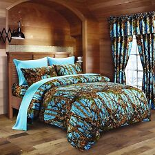 7PC QUEEN SET POWDER BLUE CAMO COMFORTER AND SHEET SET WOODS BEDDING