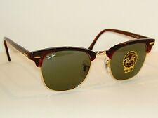 New RAY BAN Sunglasses Tortoise CLUBMASTER RB 3016 W0366 G-15 Glass Lenses 49mm