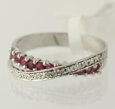 NEW Ruby Overpass Ring - 925 Sterling Silver Diamond Accents Women's Size 7.25