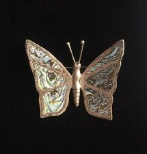 Vintage Sterling Silver Abalone Pin / Brooch Butterfly Mother of Pearl