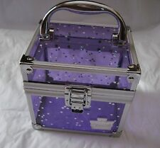 CABOODLES Clear Purple & silver stars Train Case, SMALL Make-up Storage Case